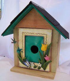 Folk Art Bird Houses   Spring Birdhouse