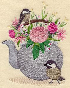 Chickadees and Teapot design (A8654) from www.Emblibrary.com
