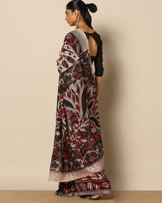 197dce8ad5422a Sun Kalamkari Multicoloured Printed Kalamkari Print Cotton Rayon Saree