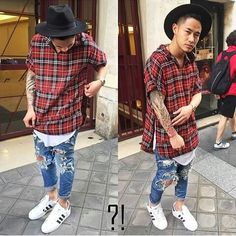 Adidas superstar. The ripped jeans. Long fit shirt. Red plaid shirt. On top of fashion. Fashionista. Men street styleTrends for 2015