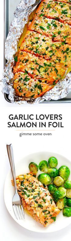 Garlic Lovers Salmon In Foil (Baked Or Grilled!) This Garlic Lovers Salmon In Foil recipe only takes a few minutes to prep, it's made with a SUPER delicious lemon garlic butter sauce, and it's always a crowd pleaser! Directions included for how cook it on Salmon In Foil Recipes, Fish Recipes, Seafood Recipes, Cooking Recipes, Healthy Recipes, Salmon Foil, Cooking Kale, Grill Recipes, Health And Fitness