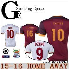 15 16 short sleeve Roma soccer jersey 2016 home red away white third 3r silver Camiseta de futbol 15/16 maillot de foot