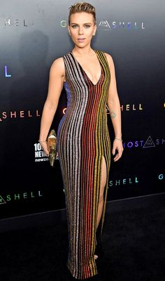 Scarlett Johansson in a striped multicolor Balmain dress