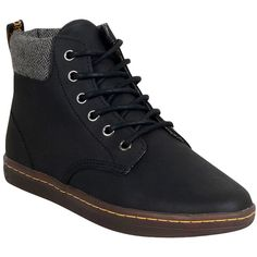 Dr. Martens Women's Maelly Boot ($90) ❤ liked on Polyvore featuring shoes, boots, black, faux leather boots, high top work boots, black hiking boots, black faux leather boots and lace up boots