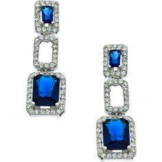 Vivian Jacob Sapphire CZ Link Drop Earrings ($75) ❤ liked on Polyvore featuring jewelry, earrings, fashion jewelryearrings, cz drop earrings, cz earrings, cz jewelry, cubic zirconia jewelry and zirconia earrings
