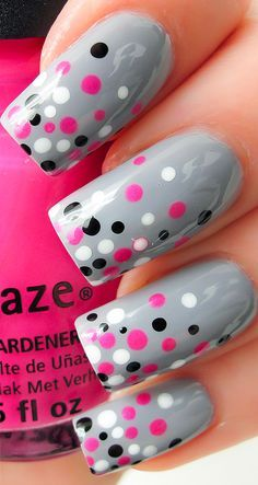 Try some of these designs and give your nails a quick makeover, gallery of unique nail art designs for any season. The best images and creative ideas for your nails. Dot Nail Art, Polka Dot Nails, Polka Dots, Gel Nail Art Designs, Cute Nail Designs, Nails Design, Fingernail Designs, Grey Nails With Design, Fancy Nails