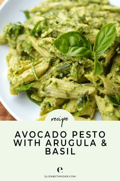 Homemade Avocado Pesto with Arugula & Basil Recipe - An easy recipe for homemade creamy pesto!. This recipe is gluten-free, healthy & delicious! Click the pin to try it today!!. #ElizabethRider #PestoPasta #CreamyPesto #BasilPesto