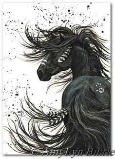 Majestätische Mustang Black Stallion Native American Friesen Pferd Kunst - 11 x 14 Print von Bihrle mm65