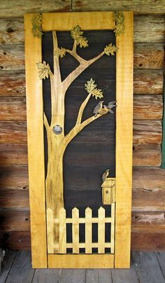 "💘💘 ""Birds and Branches"" Screen Door ~ North Country Rustics. If Course I Don't Know For Sure But I Bet This Is Hand Carved ! Wooden Screen Door, Diy Screen Door, Wooden Doors, Screen Doors, Painted Doors, Old Doors, Windows And Doors, Front Doors, Front Porch"