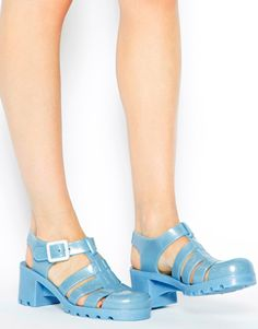Shop Juju Babe Pearl Blue Glitter Exclusive Heeled Sandals at ASOS. Juju  jelly shoes