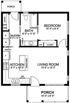 Bungalow Cabin Cottage Country Craftsman Level One of Plan 96235 Awesome layout. The Plan, How To Plan, Br House, Story House, Small House Floor Plans, Dream House Plans, Small Kitchen Floor Plans, Little House Plans, Home Design Floor Plans