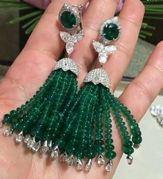 Beaded Tassel Earrings, Tassel Jewelry, Emerald Earrings, Emerald Jewelry, Seed Bead Earrings, Gems Jewelry, Pearl Jewelry, Indian Jewelry, Jewelry Art