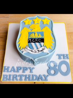 80th birthday cake Man city birthday. A,e