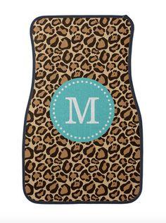 Monogram Leopard Print Car Mats Cute Girly Car by DesignyLand