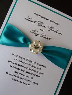 Teal Wedding Invitation With Rhinestone And Pearls By URinvitedus, $5.95