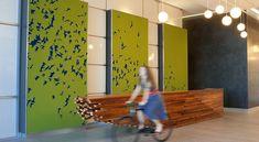 Check out University Park Building Lobby by FilzFelt.  Artwork with felt.   Great wooden reception desk.