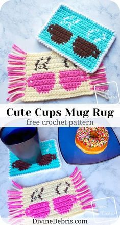Dress up your favorite beverage with this fun and simple coaster, the Cute Cups Mug Rug, from free crochet pattern on DivineDebris.com