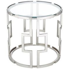 This brushed metal and clear glass end table makes a chic home accent piece.