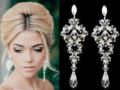 piękne, długie kolczyki ślubne, biżuteria ślubna,  wedding earrings, wedding jewelry