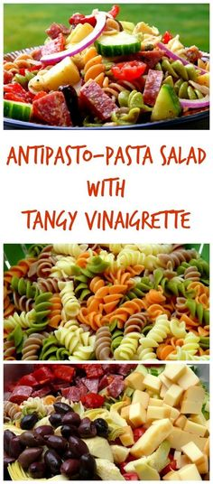 This Antipasto Pasta Salad with Tangy Red Wine Vinaigrette from NoblePig.com is by far the best pasta salad I have ever made! Summer barbecue or a Fall harvest party, this salad never goes out of style with the season. Every bite is something different: c