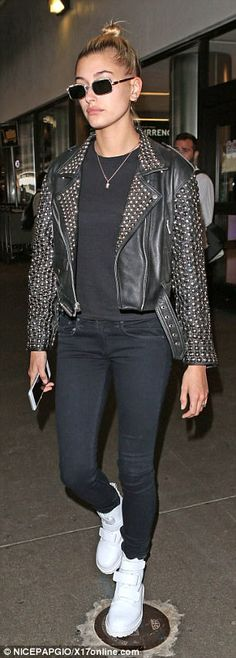 Ready to vroom!The 20-year-old rocked a leather biker jacket with metal studs as she stro...