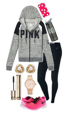 """Pop of pink "" by madelyn-abigail ❤ liked on Polyvore featuring NIKE, Pearlyta, Uncommon, Guerlain, Kate Spade, women's clothing, women's fashion, women, female and woman"