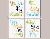 Orange Aqua Navy Green - You Are My Sunshine 8x10 Set of 4 Wall Art Decor Prints Poster Nursery Child Kid Room Typography