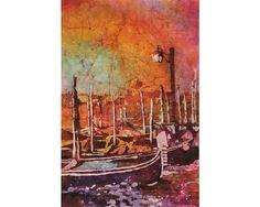 Watercolor painting of gondola boats on Piazza San Marco at sunset in the medieval city of Venice- Italy  Original painting 12x18- SOLD 20x30 print on photographic paper- $99.99 16x24 print- $79.99 12x18 print- $39.99 8x12 print- $29.99  Giclee/original are shipped sealed in watertight envelope, rolled in sturdy cardboard tube. Priority shipping (1-3 days) USPS with insurance and tracking