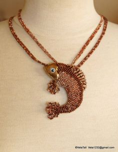 Veta's Art with Beads: Copper Fish / Рыбка медная Seed Bead Necklace, Seed Bead Bracelets, Beaded Earrings, Bead Jewellery, Jewelry Art, Jewelery, Marine Style, Fish Patterns, Beaded Animals