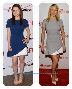 Un vestido de Victoria Beckham primavera 2014 se lo vimos en azul a Emilia Clarke en los AFI Awards; y después se lo hemos visto a Cameron Diaz en color gris.