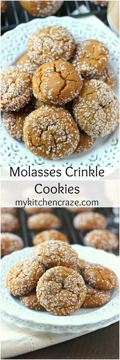 Molasses Crinkle Cookies ~ http://mykitchencraze.com ~ A delicious, soft chewy molasses crinkle cookie. Loaded with cinnamon, ginger and cloves. These cookies will be a hit!