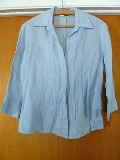 c1fca0e7f295f BURTON Light Blue Linen with beads Women Pleated Shirt Blouse Size S (36).