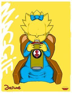 Illustration : La famille Simpsons vue par 2NES