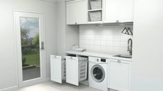 Laundry in kitchen design ideas galley kitchen floor plans galley kitchen design laundry laundry in kitchen Laundry Cupboard, Laundry Nook, Garage Laundry, Laundry Room Storage, Laundry Hamper, Laundry In Bathroom, Bathroom Storage, Small Bathroom, Drying Cupboard