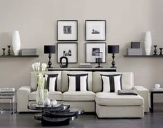 Undated Ideal Home Magazine Handout Photo of walls painted in Soft Taupe matt emulsion, £13.79 for 2.5 litre, Dulux; Ribba picture frames, £...