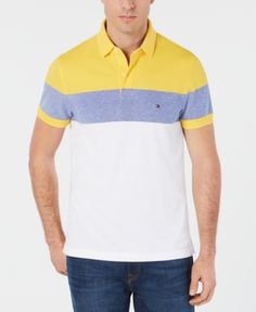 0071171b5 Tommy Hilfiger Dylan Men's Custom Fit Striped Polo, Created for Macy's -  Yellow M Tommy