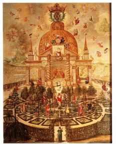 The kabbalistic-alchemical   Central panel of the altarpiece at Bad Teinach. Commissioned by the Princess Antonia of Württemberg, she became closely involved in the composition, which is extensively symbolic, and considered a personal testament to her deep involvement in Christian Kabbalah  http://www.levity.com/alchemy/bad_teinach.html