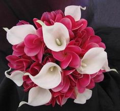Natural Touch Bouquet Frangipani Plumeria Calla Lily -- blue calla Lilly's would be nice too Silk Bridal Bouquet, Calla Lily Bouquet, Silk Wedding Bouquets, Calla Lillies, Wedding Flowers, Frangipani Wedding, Brooch Bouquets, Wedding Dresses, Lily Wedding