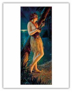 Pacifica Island Art _Ukulele Wahine - Topless Hawaiian Pin-Up Girl - Vintage Yard-Long Print by Gene Pressler - x Vintage Tin Sign Pin Up Girl Vintage, Vintage Art, Ukulele Art, Guitar, Art Deco Artists, Hawaiian Girls, Hula Girl, Poster Prints, Art Prints