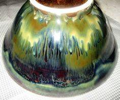amaco 5/6 Seaweed over Temmoku, Ancient Jasper stripes. White stoneware clay, cone 6.