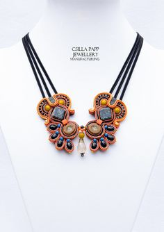 Chasca Hand Embroidered Soutache Necklace in black orange opaque yellow blue with quality beads Diy Jewelry, Jewelery, Handmade Jewelry, Fashion Jewelry, Jewelry Making, Soutache Bracelet, Soutache Jewelry, Beaded Jewelry, Soutache Tutorial