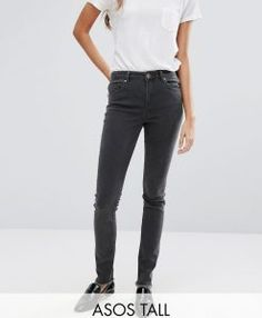 ASOS TALL Lisbon Mid Rise Jean In Gray With Zip Back Hem - Gray. Tall Clothing for tall men and tall women at PrettyLong.com