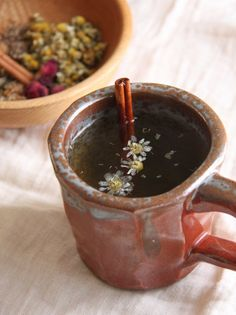 A homemade mixture of herbs and spices for restful sleep. A homemade mixture of herbs and spices for restful sleep. Sleep Tea, Sleep Drink, Café Chocolate, Cinnamon Tea, Chamomile Tea, In Vino Veritas, My Tea, Tea Recipes, Tea Parties