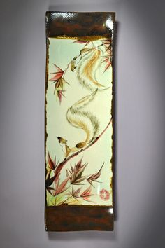 Appetizer tray brushpainted with squirrels among maple branches on a high-fire stoneware tray. Squirrels represent energy and resourcefulness by Tracie Griffith Tso of Reston, Va. #torpedofactory
