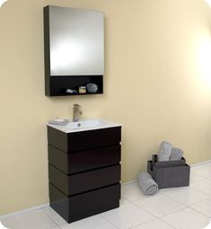 Buy the Fresca Espresso Direct. Shop for the Fresca Espresso Amato Solid Oak Wood Vanity With Rectangular Mirror, Ceramic Sink, Faucet, Pop-Up Drain and Installation Hardware Included and save. Discount Bathroom Vanities, Small Bathroom Vanities, Single Sink Bathroom Vanity, Bathroom Vanity Cabinets, Wood Vanity, Bath Vanities, Modern Bathroom, Bathroom Ideas, Modern Vanity