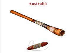 AUSTRALIA. Up/Down  1.-Didgeridoo: aerophone / lip reed 2.- Bullroarer: aerophone