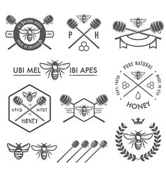 Set+of+vintage+honey+labels+and+design+elements+vector+1671107+-+by+ivanbaranov on VectorStock®