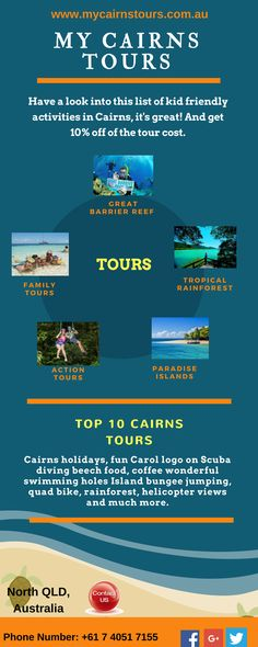 My Cairns Tours is the renowned tour service provider in Cairns offering you its best tour services at cheaper price tags that you will never find anywhere else. Grab 10% off on all tour packages from the company at the time of bookings.