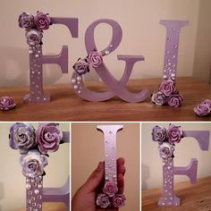 Beautiful hand painted and decorated freestanding wooden letter 13cm tall. Painted in your choice of colour and decorated with beautiful roses, Swarovski crystals and flat back pearl embellishments. These stunning letters make wonderful wedding décor for your top table or placed next