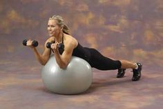 Work your core and your arms at the same time with these bicep preacher curls on a Swiss ball.
